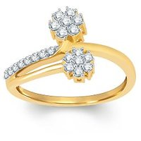 Pure Gold Jewellers 18kt Yellow Gold Floral Cluster Ring With 22pcs Of 0.29cts Diamonds