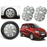 Premium Quality Car Full Wheel Covers Caps Silver Colour 14inches - Maurti Suzuki Celerio - Set Of 4pcs