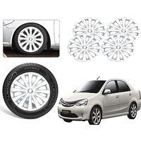 Premium Quality Car Full Wheel Covers Caps Silver Colour 14inches - Toyota Etios - Set Of 4pcs