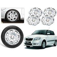Premium Quality Car Full Wheel Covers Caps Silver Colour 14inches - Skoda Fabia - Set Of 4pcs