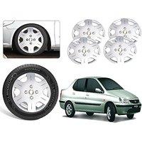 Premium Quality Car Full Wheel Covers Caps Silver Colour 14inches - Tata Indigo Old - Set Of 4pcs