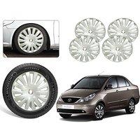 Premium Quality Car Full Wheel Covers Caps Silver Colour 15inches - Tata Manza - Set Of 4pcs