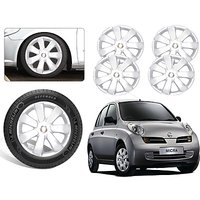 Premium Quality Car Full Wheel Covers Caps Silver Colour 13inches - Nissan Micra - Set Of 4pcs