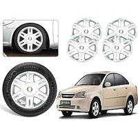 Premium Quality Car Full Wheel Covers Caps Silver Colour 14inches - Chevrolet Optra - Set Of 4pcs