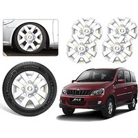 Premium Quality Car Full Wheel Covers Caps Silver Colour 15inches - Mahindra Xylo - Set Of 4pcs
