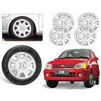Premium Quality Car Full Wheel Covers Caps Silver Colour 12inches - Maurti Suzuki Zen - Set Of 4pcs