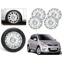 Premium Quality Car Full Wheel Covers Caps Silver Colour 14inches - Hyundai I20 - Set Of 4pcs