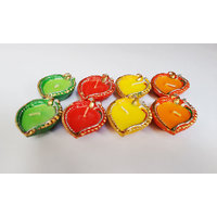 Zanky Leaf Shaped Traditional Diya-Pack Of 8 (ZYCNL32)