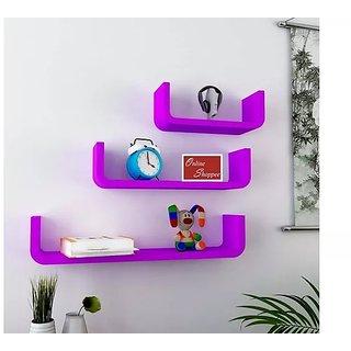 Onlineshoppee U Shape Floating MDF Wall Shelves Set of 3 - Purple