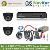 Set Of 2 NIGHT Vision CCTV Cameras And 4 Ch DVR With All Required Connectors