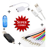 Combo of Aux Spliter Smart OTG Memory Card Reader V8 Micro USB Data Cable Aux Cable   Assorted Color