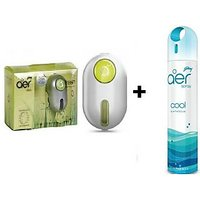 Combo Of Godrej Car Ac Vent Perfume (Green) +Godrej Car,Home Air Spray(Blue).