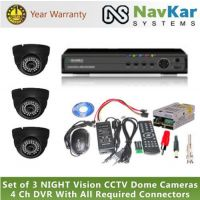 Set Of 3 NIGHT Vision CCTV Cameras And 4 Ch DVR With All Required Connectors
