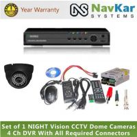 Set Of 1 NIGHT Vision CCTV Cameras And 4 Ch DVR With All Required Connectors