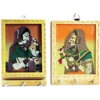 Set Of 2 Rajasthani Art Handmade Gemstone Painting Wooden 4 Key Hanger
