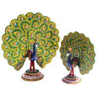 Set Of 2 Handicrafts Paradise Metal Enamelled Dancing Peacocks