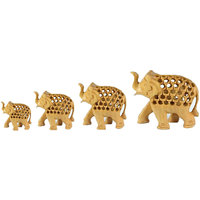Set Of 4 Brown Wooden Elephant Undercut Hand Carved Decorative Gift
