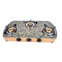 Designer Green Marble Top 3 Burner Cooktop/Gas Stove