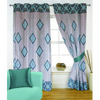 Fabutex Glitter Blue Geometrical Panel Door Curtain