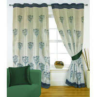 Fabutex Glitter Green Floral Panel Door Curtain