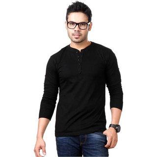 Jangoboy Solid Men's Henley Black T-Shirt
