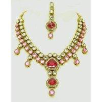 Kundan Necklace Set With Mangtikka & Earrings - 67632