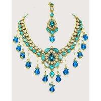 Kundan Necklace Set With Mangtikka & Earrings - 61424