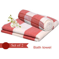 Exclusive  Design Velvet Bath Towel(set Of 2) -RUST & CREAM