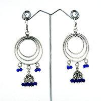 Blue Beaded Dangler Earrings
