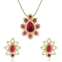 Oviya Shimmering Austrian Crystal Pink and Red Dia Pendant set NL4101016G