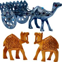 Shoppingtara Buy Gemstone Studded Brass Camel Cart N Get Wooden Camel Pair Free