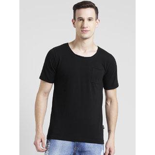 Rigo Black Deep Scoop Neck With Upturned Half Sleeve T-Shirt For Men