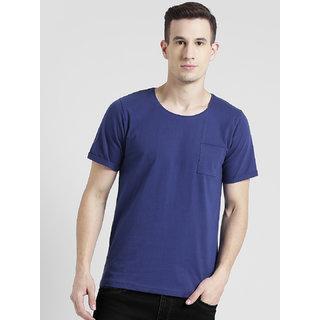 Rigo Royal Blue Deep Scoop Neck With Upturned Half Sleeve T-Shirt For Men