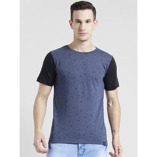 Rigo Blue Melange Printed Half Sleeve T-Shirt For Men