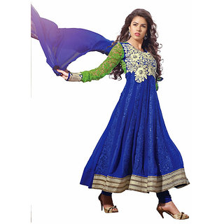 Ethnicbasket georgette- brasso sleeves blue colored semistitched (EBSK10101411004)