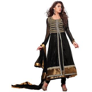 Ethnicbasket net-georgette black colored semistitched dress (EBSK10101411005)