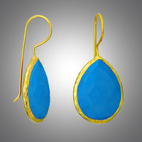 925 Sterling Silver Earrings In Micron Gold Plating With Gem Stone