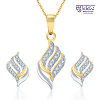 Sukkhi Gold and Rhodium Plated CZ Pendant Set with Earrings (125PS600)