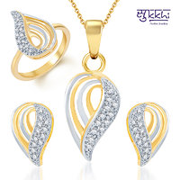 Sukkhi Youthful Trendy Gold and Rhodium Plated CZ Pendant Set and Ring Combo