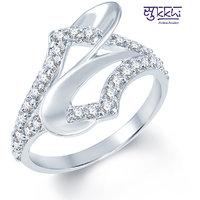 Sukkhi Classy Rodium plated CZ Studded Ring (196R490)