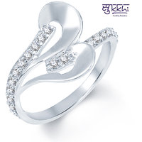 Sukkhi White Party Rhodium Plated Alloy Cubic Zirconia (Cz) Contemporary Ring