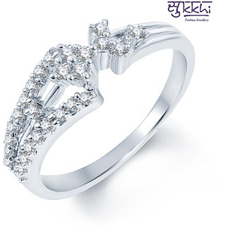 Sukkhi Enchanting Rodium plated CZ Studded Ring (185R410)
