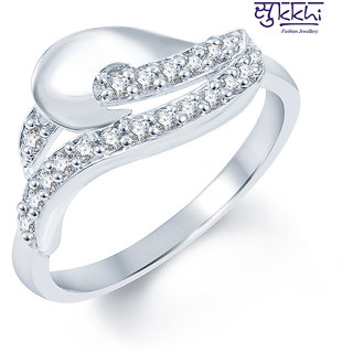 Sukkhi Artistically Crafted Rodium plated CZ Studded Ring (235R360)