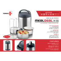 Power Plus Meal Deal Insulated SS Lunch Box (with Stainless Steel Containers) – 3 Containers