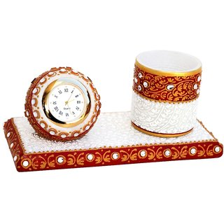 Kundan Studded Marble Clock And Penholder