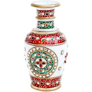 Multi Colored Gold Embossed Marble Flower Vase