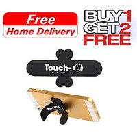 Touch-U One Silicone Stand For Mobile Holder Support Sticks Back (Black)