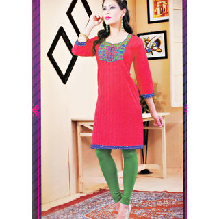 2052 XL Cotton Embroidered Neckline Three Fourth Sleeve Ethenic Kurti
