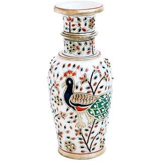 Peacock Motif Marble Flower Vase