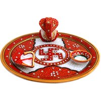 Marble Pooja Thali With Mehrab Design